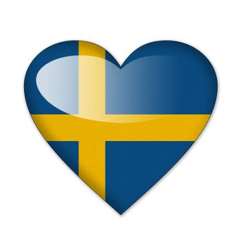 Sweden flag in heart shape isolated on white background