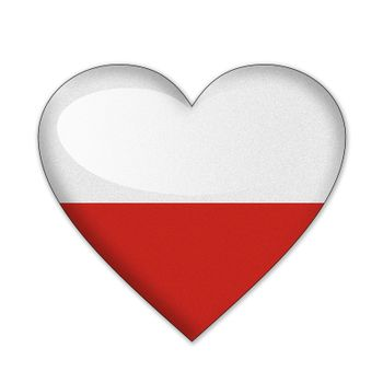 Poland flag in heart shape isolated on white background