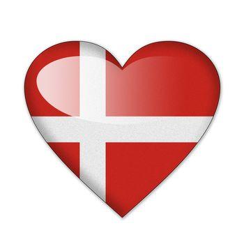Denmark flag in heart shape isolated on white background