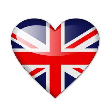 Heart flag Britain in white background