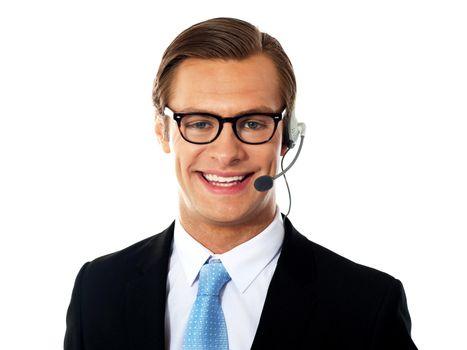 Closeup shot of male customer support member