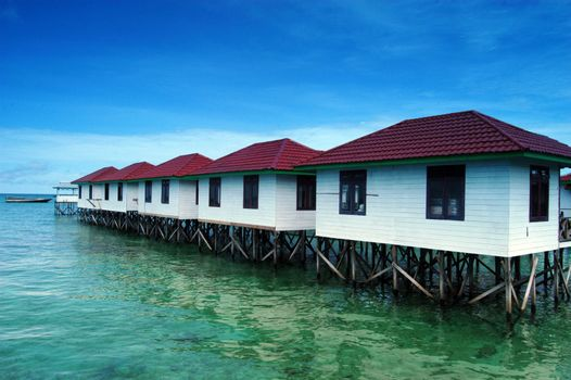 lined lodging buildings on the beach