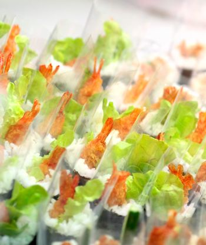 Individual sushi on display