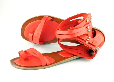 Red female open shoes