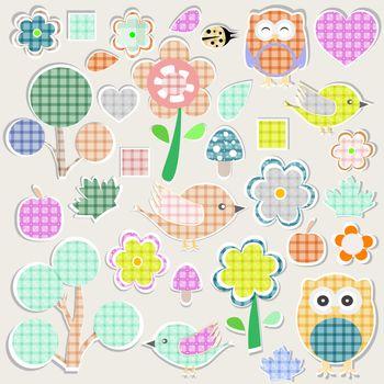 Set of nature textile stickers. scrapbook elements