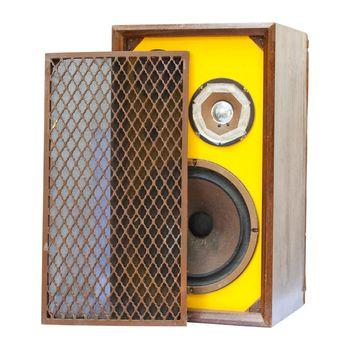 old speaker isolated on white background
