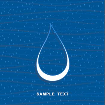 White drop of water on a blue background. A vector illustration