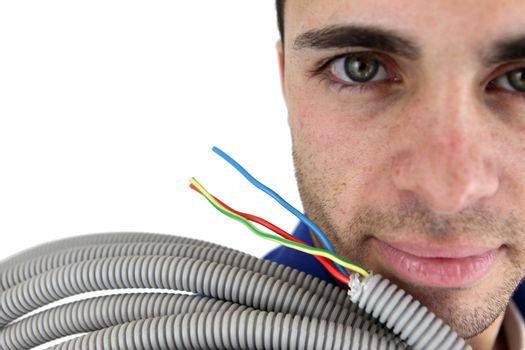 Electrician with conduit