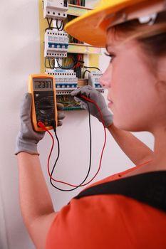 Female electrical engineer