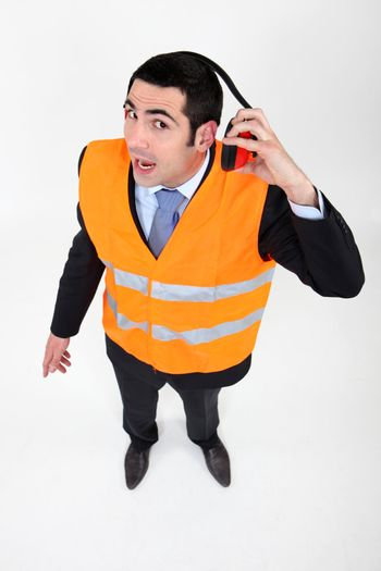 Airport worker with hearing protection