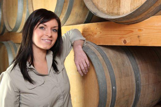 Winemaker in her cellar