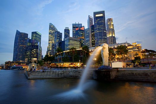 Sunset scene from the financial district,Singapore. From the river.