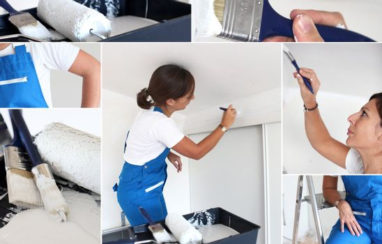 Montage of handywoman painting at home