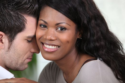 Affectionate mixed-race couple