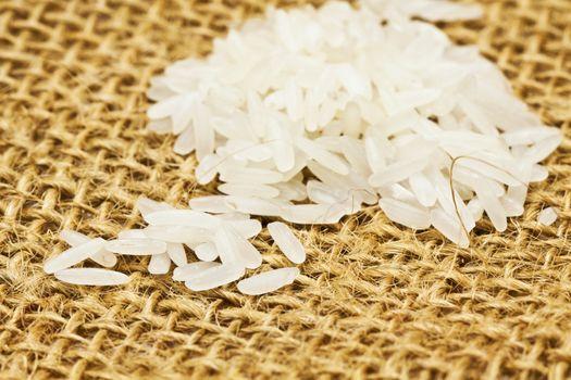 Rice on sackcloth