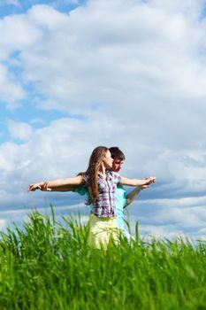 lover hug in the sky