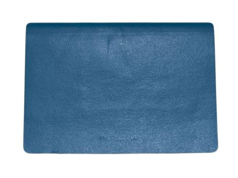 Blue leather diary book laying