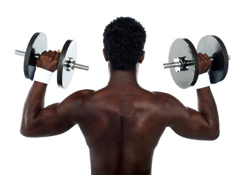Rear view of a young male bodybuilder