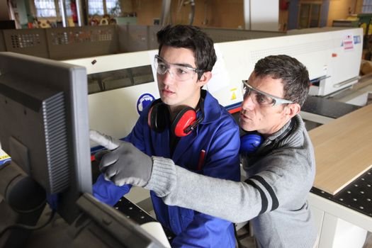 young apprentice in industry sector with tutor