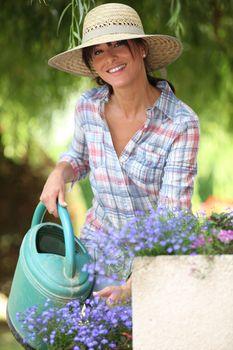lady watering flowers