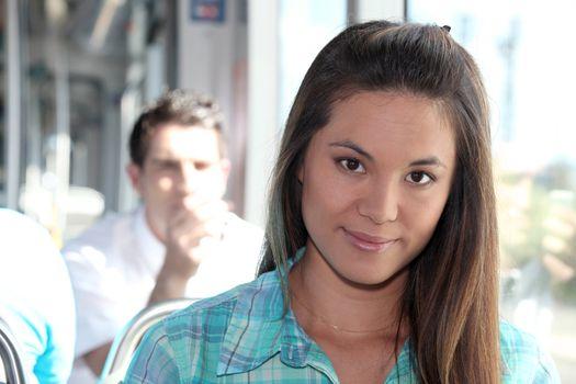 Woman on a tram