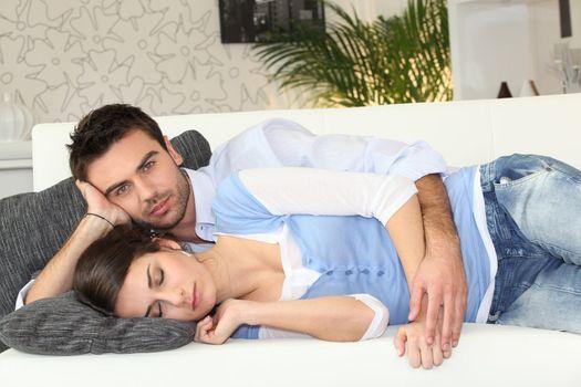 Couple having nap