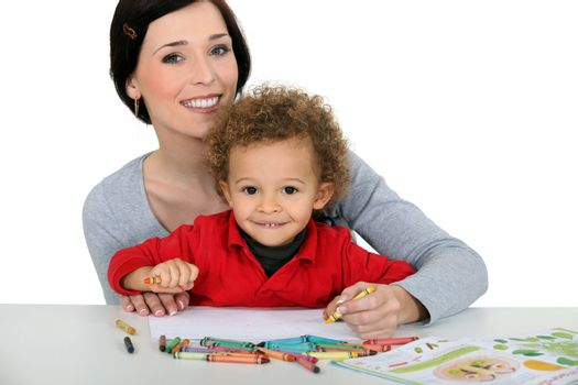 Mother drawing with child