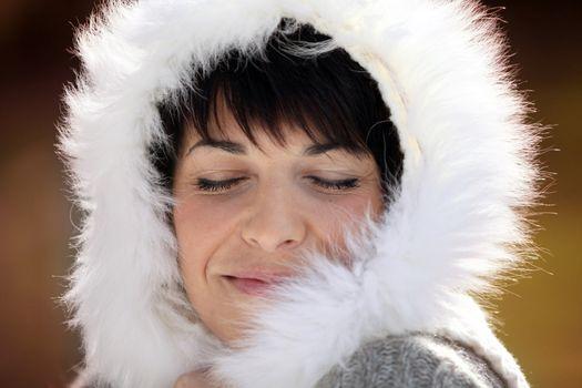 Woman in a furry hood