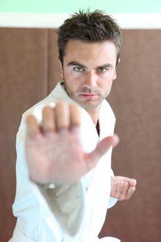 Man stood in martial art position
