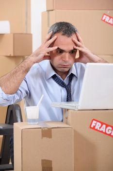 Man facing a logistical nightmare