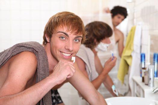 Guys in the bathroom