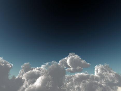 cumulus clouds soaring
