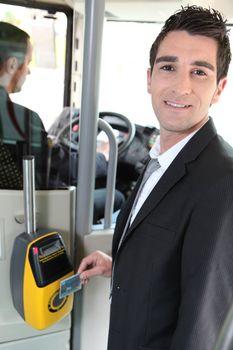 Commuter swiping his tram ticket