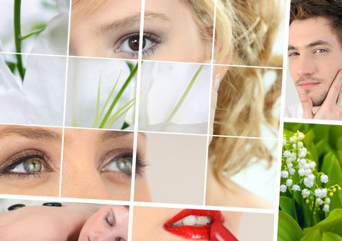 Beauty and wellbeing themed collage