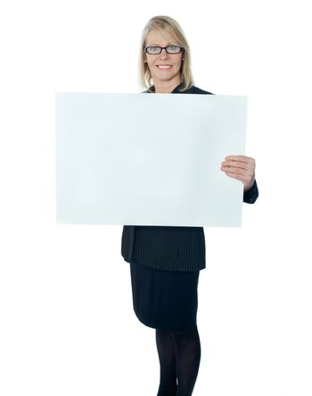 Corporate lady promoting blank placard