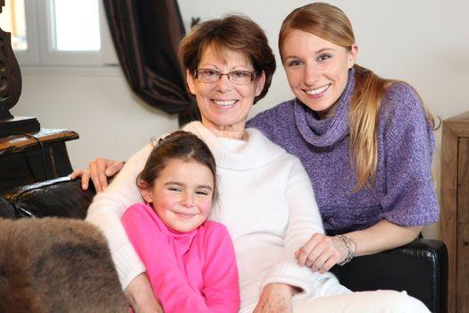 Family portrait of three generations