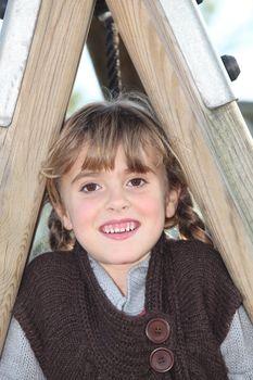 portrait of a little girl outdoors