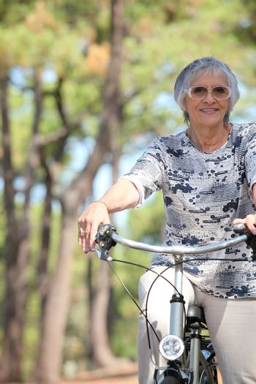 elderly dame riding