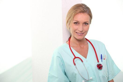 Female medic in scrubs