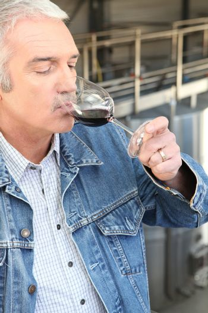 Man drinking wine in a cellar