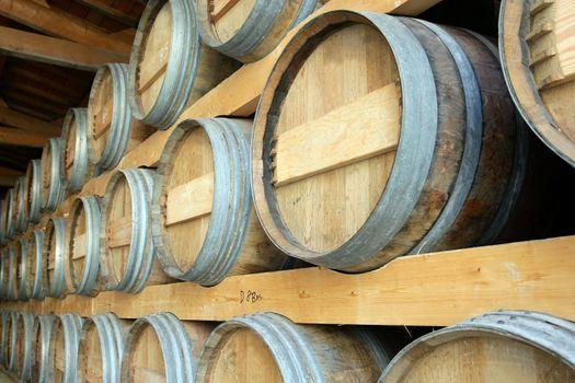 Barrels stored in a cellar