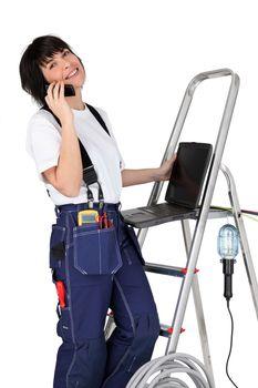 a female technician at phone
