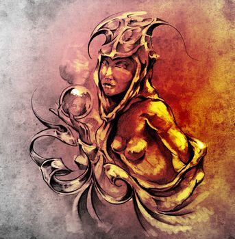 Sketch of tattoo art, nude fairy woman
