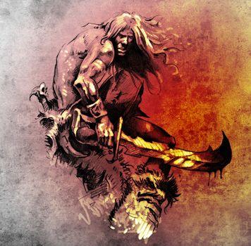 Sketch of tattoo art, warrior fighting with big sword