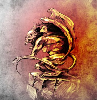 Sketch of tattoo art, gargoyle demon, design elements over vintage background