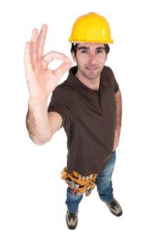Satisfied building worker