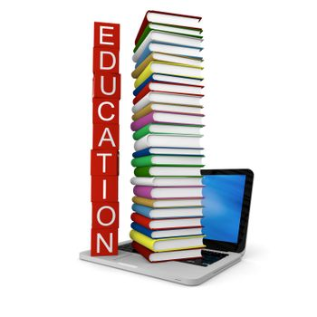 Concept of education with pile of colorful books on laptop