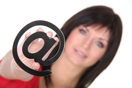 Brunette with email symbol