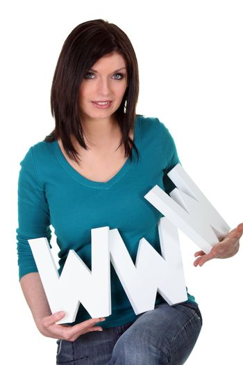 Woman with letters www