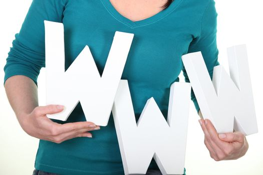 Woman with www